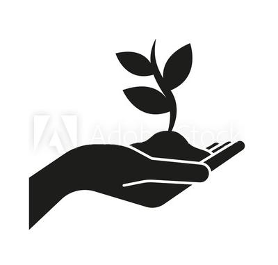 icono mano planta